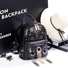 Кожаный рюкзак 2017 женщин Элитный бренд Женская мода заклепки рюкзак дорожная из искусственной кожи с кисточками черные рюкзаки школьные для девочек; Новинка