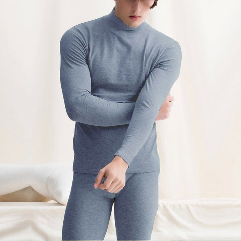 2019 Winter Warm Tops & Pants 2 Piece Male Clothing Set New Arrived Pullover Men Thermal Underwear Set Plus Size L-2X(China)