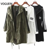 VOGUE!N New Womens Winter Fashion Army Green/White/Black Windbreaker Trench Coat Size SML