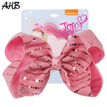 AHB New 7 Inch Large Hair Bows Clips for Girls Shiny Sequin Striped Bow Knot Hairgrips Barrettes Kids Accessories