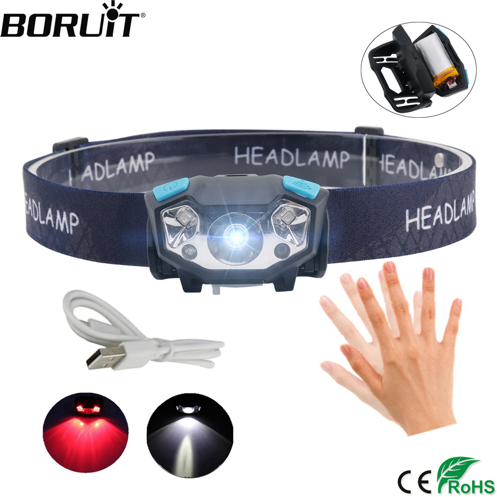BORUiT Portable IR Sensor Headlamp R5 XPE LED Headlight USB Charge Head Torch Red/White Light Flashlight Built-in BatteryBORUiT Portable IR Sensor Headlamp R5 XPE LED Headlight USB Charge Head Torch Red/White Light Flashlight Built-in Battery