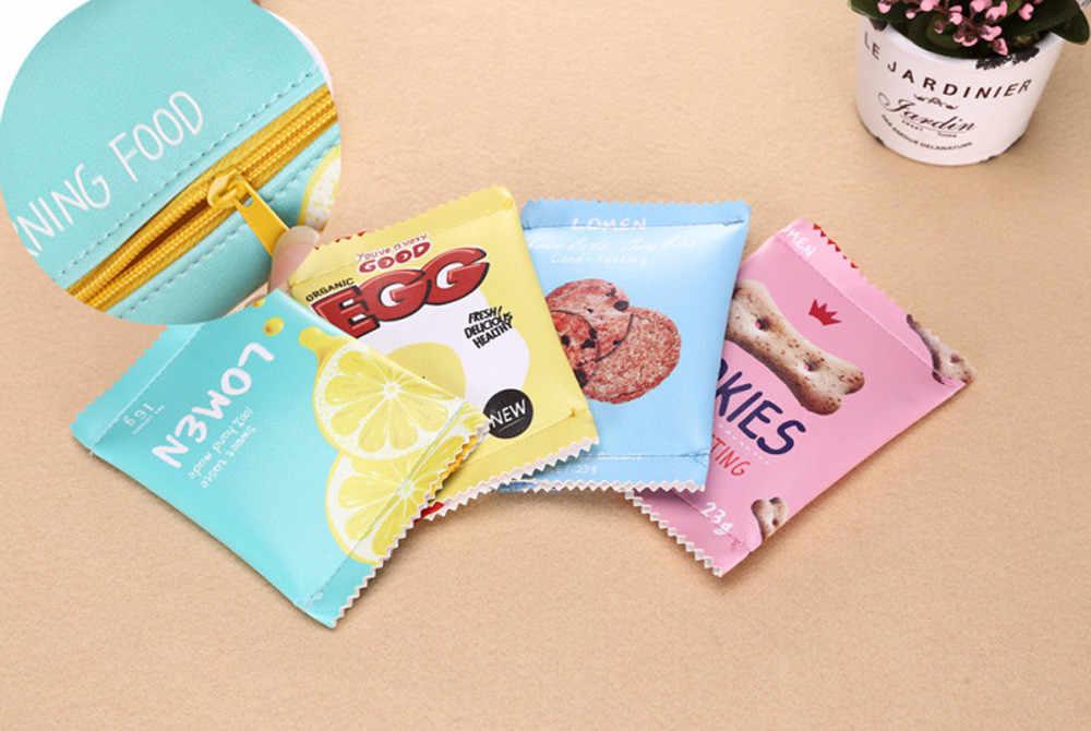 Femmes filles mignon mode collations porte-monnaie portefeuille sac changement porte-clés avec poche sac à main court mâle pochette en cuir portefeuille sac d'argent