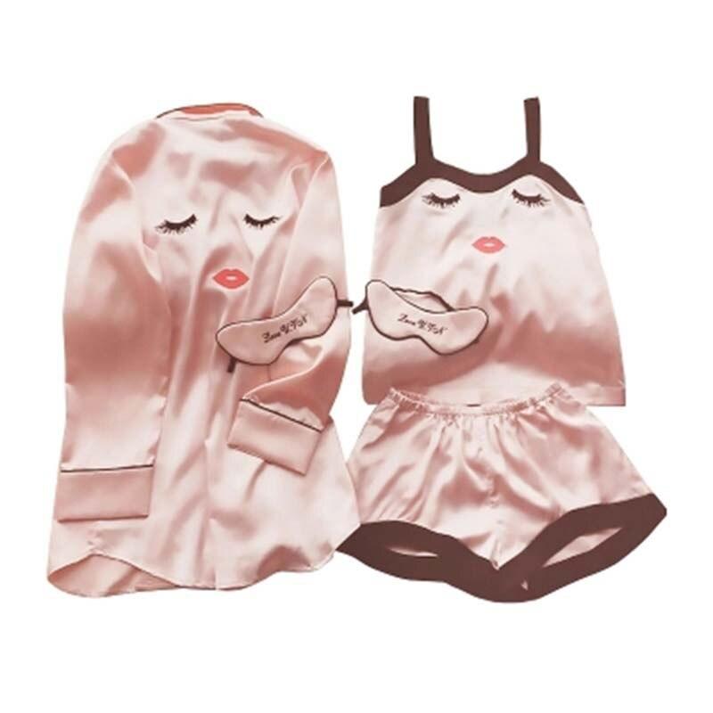 Women Silk Satin   Pajamas     Set   4 Pieces Stitch lingerie Robe pyjamas Blinder Room Lady Clothes 2018 Top Fashion