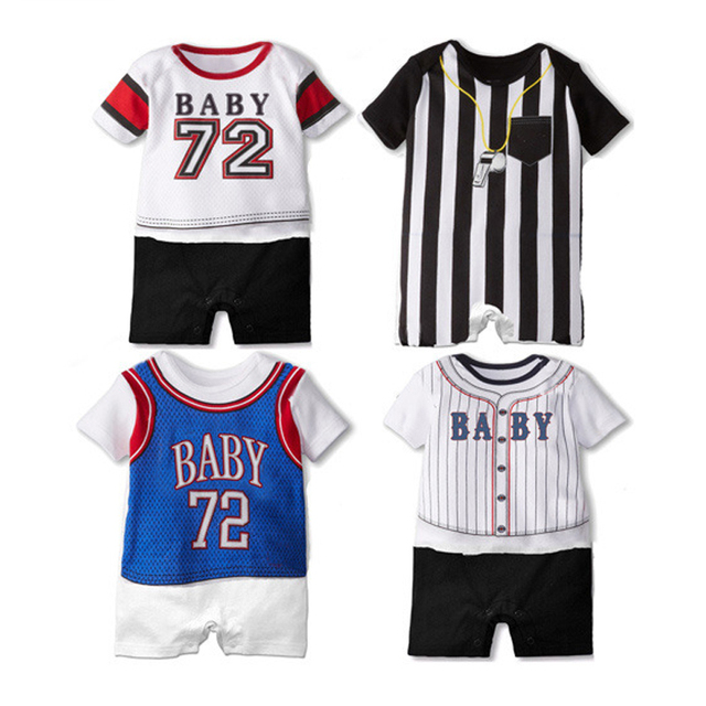 7855e651b68 Summer Basketball Baby Rompers Baby Girl Clothes Cotton Short Sleeve Toddler  Jumpsuit Infant Baseball Boy Sport Suit outfit Cute