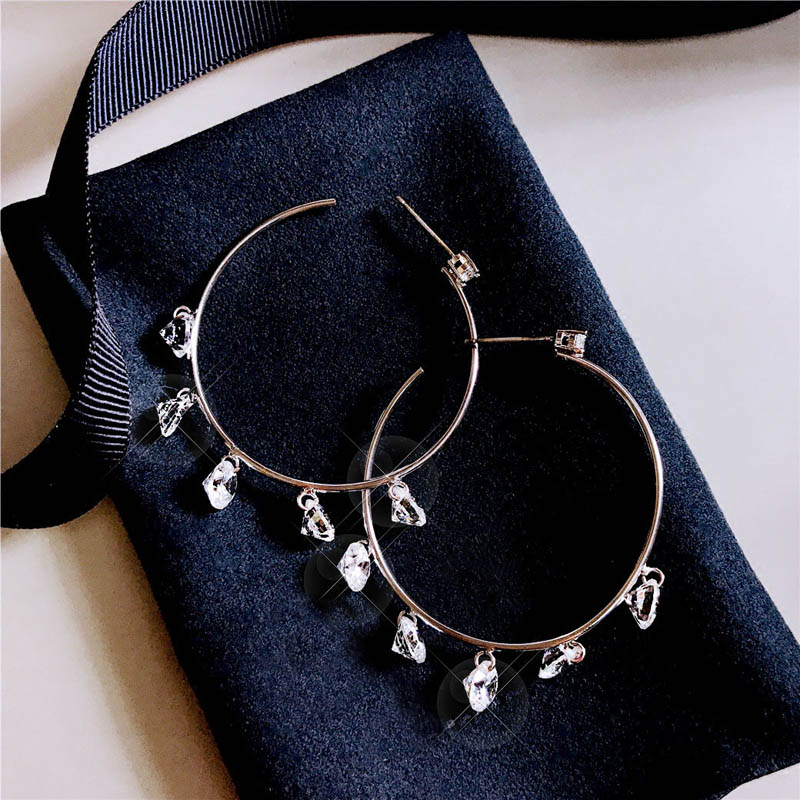 Jewelry Accessories Key Chain Bracelet Necklace Pendants 25mm Small Cubic Zirconia Round Hoop 925 Sterling Silver Earring