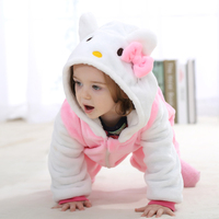 2 Colors Soft KT Rabbit Girls Baby Rompers Flaneel Cartoons Animal Infant Rompers One Pieces Suit