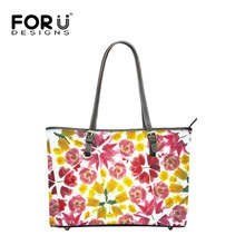 FOURDESIGNS Women' Big Top-handle Shoulder Bags 5 Colors Floral Printing Leather Hand Bags for Ladies Casual Design Bolsos Mujer