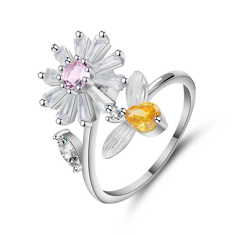 Beiver Daisy ดอกไม้ & Infinity Love Pave แหวนสำหรับผู้หญิง Chrysanthemum เครื่องประดับหมั้น 2019 ใหม่มาถึง