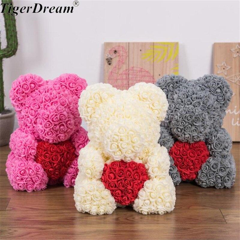 40 cm saint valentin cadeau PE Rose ours tenant coeur jouets en peluche plein d'amour romantique ours en peluche poupée mignon petite amie cadeaux