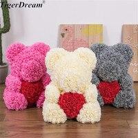 40cm Valentine's Day Gift PE Rose Bear Holding Heart Toys Stuffed Full Of Love Romantic Teddy Bears Doll Cute GirlFriend Gifts