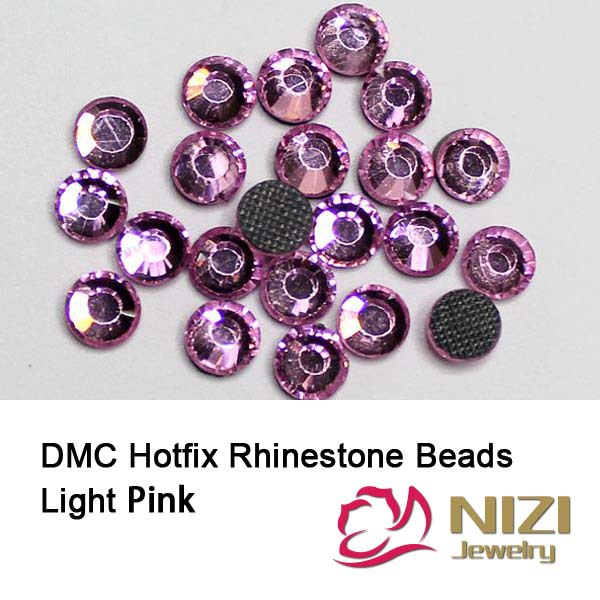 Hotfix Rhinestones Light Pink Iron On Strass Round Flatback Glass DMC Rhinestones For DIY decoration Strass With Glue Backing 1440pcs lot ss16 3 8 4 0mm high quality dmc tanzanite iron on rhinestones hot fix rhinestones