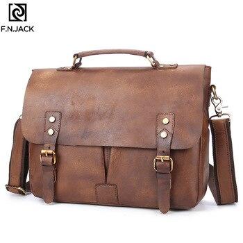 F.N.JACK New Genuine Leather Men's Briefcase Single Shoulder Bags Oblique Handbag Business Simple Crossbody Bag for Man 2019