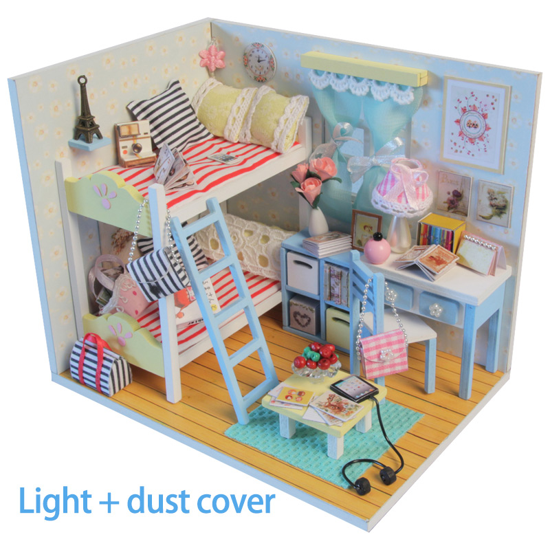 DIY Wooden Miniature Doll House Bed Miniature With Led Light Furniture Dust Cover Furniture Toys For Children Birthday Gift