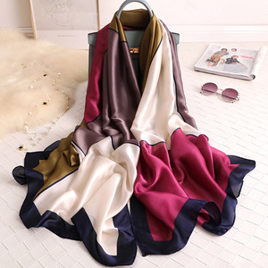 2019 Women Silk Scarf Design Print Female Foulard Hijab Scarfs Summer Lady Shawl Beach Cover-ups Scarves Wraps Neck Headband