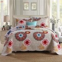 Textiles para el hogar 3 uds conjunto edredón acolchado americano cama gris flor conjunto 100% algodón 230*250cm de retales azul funda de almohada blue bedding quilted bedspread set bed cover set -