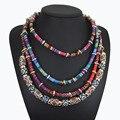 Maxi colar 2016 cadeia de múltiplas camadas collier étnica tribal boho colar collares bijoux big chunky colares declaração para o cabo