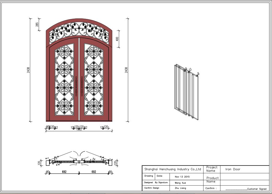 iron door6 72x96 wrought iron doors 8mm clear glass+ 12 gauge steel +8mm rain glass fixed shipping USA home address $3500