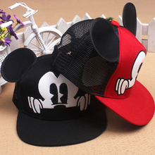 New Baseball Cap Children Mesh Snapback Summer Cap Cartoon Mickey Lovely Sun Hat Casquette Hip Hop Hat For Boys and Girls