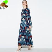 Women S Spring Fashion Vintage Print Formal Dress Sexy Cutout Slim Long Dress Hollow Out Print