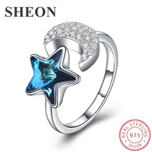 SHEON Authentic 925 Sterling Silver Blooming Moon and Star Blue Crystal & CZ Female Rings for Women Jewelry Anel