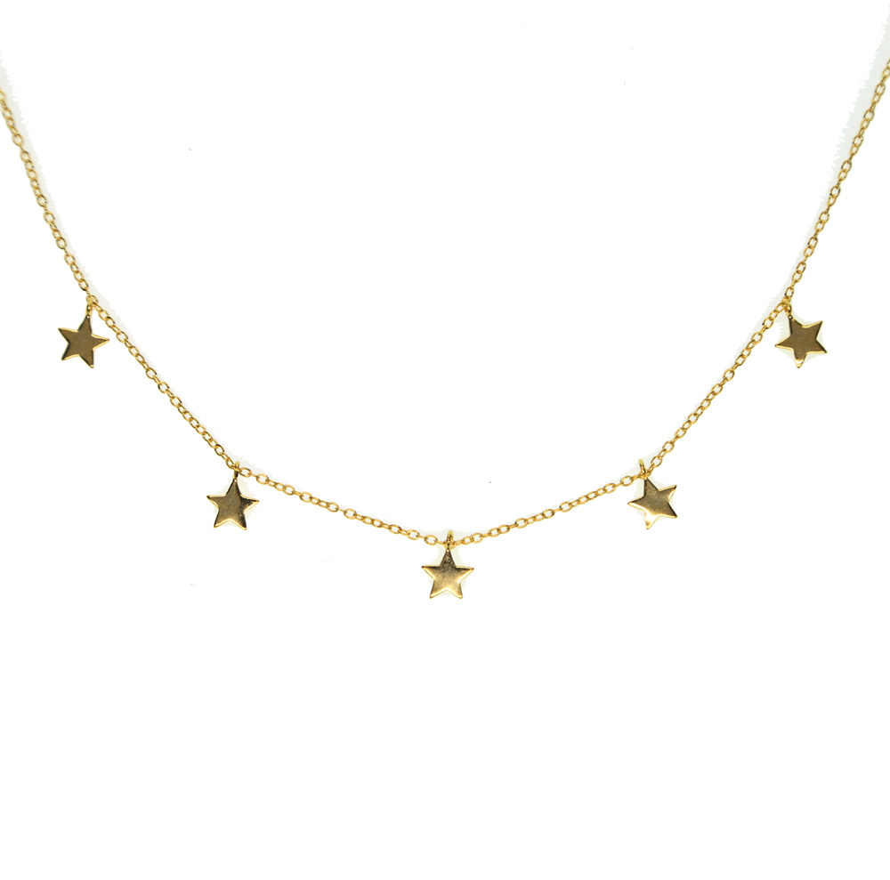 40+5cm gold color 925 sterling silver cute danity Star charm pendant necklace  christmas gift delicate chain star necklace
