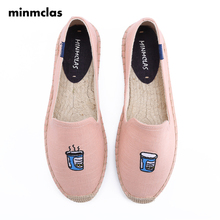 Minmclas New Slippers Alpargatas Coffee Cup Slip-on Womens Casual Espadrilles Breathable Flax Hemp Canvas for Girl Shoes