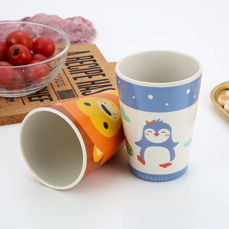 Bamboo Fiber Children's Drinking Cup Cartoon Anti-skid Baby Water Cups