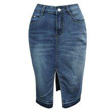 5db0876e4f3 NIBESSER High Street джинсы для женщин юбки разделение спереди джинсовая  юбка мода 2018 г. осень высокая талия карман для синий .