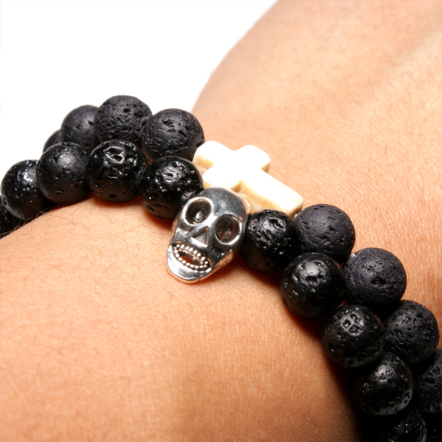 HOBBORN Trendy Men Punk Beads Bracelet 8mm Natural Lava Stone Handmade Skull Cross Charm Mens Women Hiphop Bracelets Set Jewelry in Strand Bracelets from Jewelry Accessories