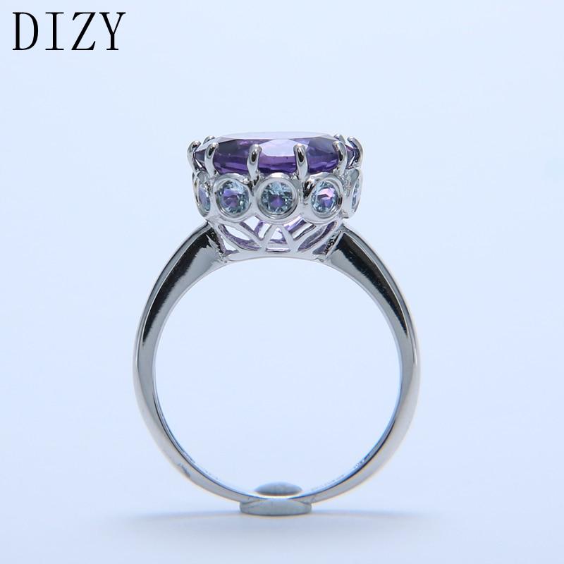 DIZY naturel violet améthyste anneau solide 925 en argent Sterling rond coupe bague de pierres précieuses pour les femmes cadeau de mariage bijoux de fiançailles - 3