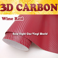Wine Red Carbon Fiber Film 3D Air Free Bubble For Car Wrap Size:1.52*30m/Roll