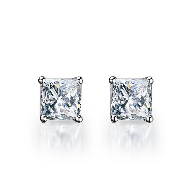 Affordable Princess Cut Solid 18k White Gold 4Carat Solitaire Diamond Wedding Stud Earrings Statement Promise Jewelry
