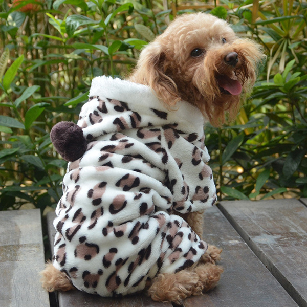 Hot Sales Factory Price! Soft Pet Dog Jumpsuit Puppy Cat Clothes Fleece Leopard Print Costume Coat Jumpsuit Hoodies