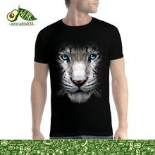 White Tiger Face Blue Eyes Animals Men T-shirt S-3XL New T Shirts Funny Tops Tee Unisex  High Quality Casual Printing