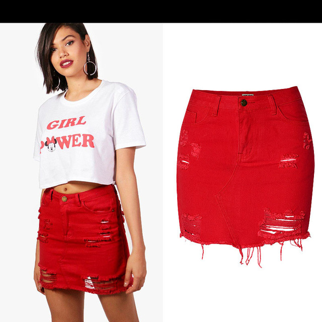 791f0d650e 2018 New High Waist Denim Skirt Red Light Wash Women Distressed Mini Pencil  Skirt Sexy Ripped 5 Pocket Casual Summer Skirt