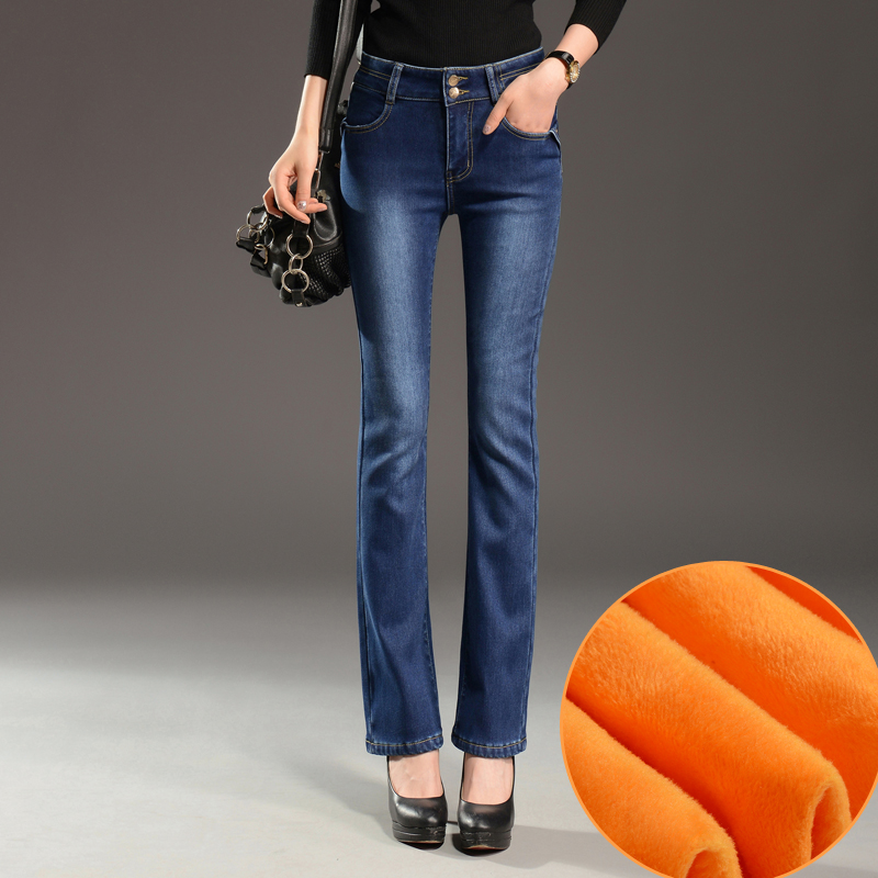 Womens warm pants for winter high waist stretch fleece lined flare jeans straight skinny Bell bottoms