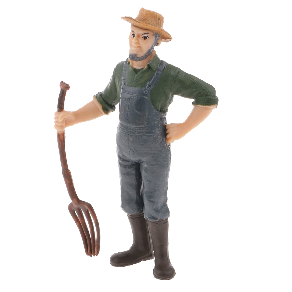 Realistic Male Farmer People Figurine Model Figure Kids Toy Collectibles