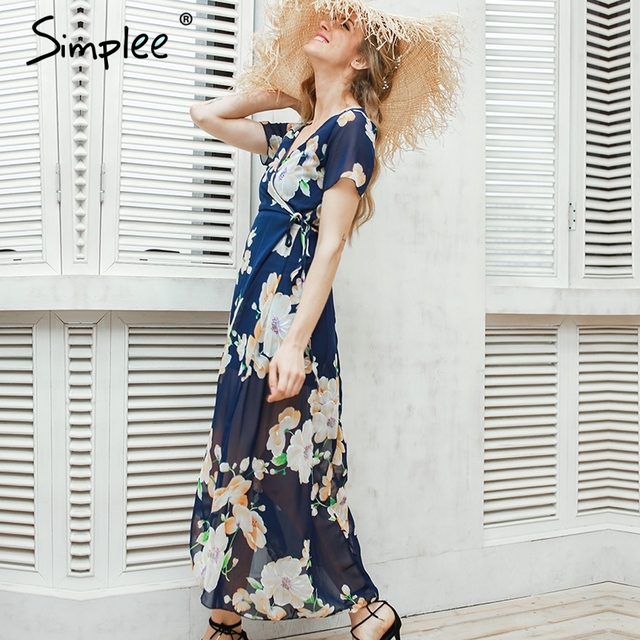 Simplee Sexy floral summer dress Maxi wedding party dress women Boho v neck vintage dresses vestidos