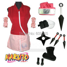 Free Shipping! Naruto Haruno Sakura Coat, skirt, leggings, Arm sleeve, headband, Black And White Arms package, bag, Shoes