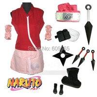 Spedizione Gratuita! Naruto Haruno Sakura Cappotto, gonna, leggings, manica del braccio, fascia per capelli, in Bianco E nero pacchetto Braccia, sacchetto, scarpe