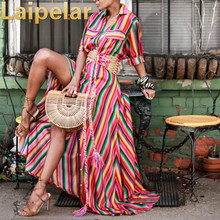 Color Block Women Bohemian Maxi Dress Ladies Half Sleeve Floor-Length Shirt Patchwork Striped Evening Party Beach Dresses casual striped color block dress