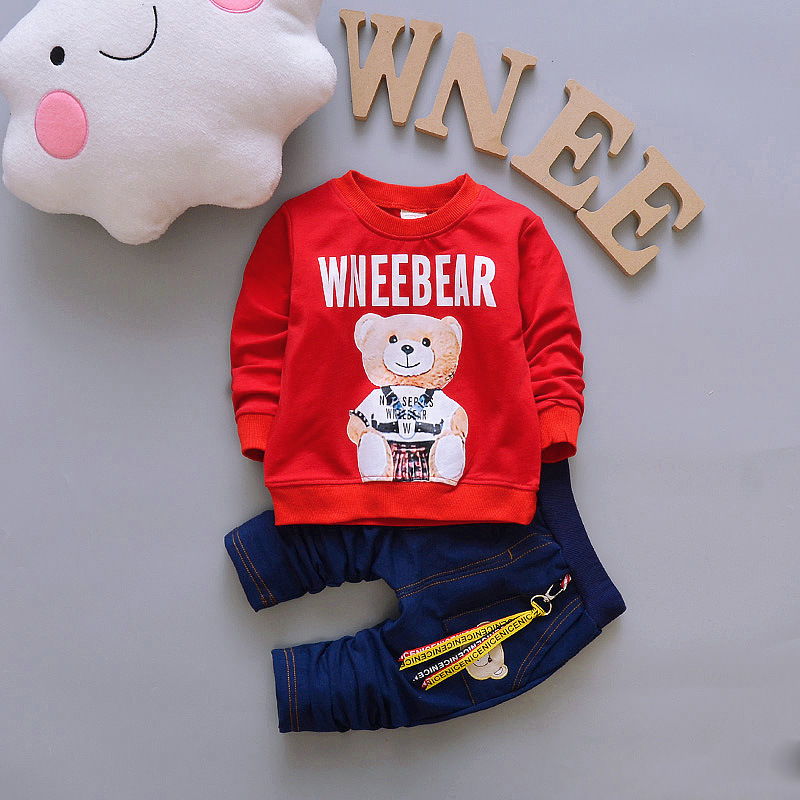 Baby Boy Clothes 2017 New Brand Infant Clothing Cartoon Bear Long Sleeve T-shirts Tops + Jeans Kids Bebes Jogging Suit Tracksuit