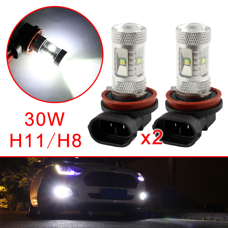 2X Vehicle Fog Day Running Light Part H11 H8 LED Bulb Chip 30W Fit For Car