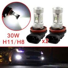 2X автомобиля Туман День ходовые огни часть H11 H8 светодио дный лампы Чип 30 Вт подходит для автомобиля лампы ДРЛ объектив проектора белый Стиль отделкой аксессуары