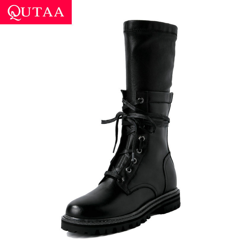 QUTAA 2020 Genuine Leather Round Toe Warm Fur Fashion Mid Calf Boots Low Heel Lace Up Zipper Casual Women Long Boots Size 34-43