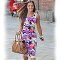 2017 Моды Летние Женщины Старинные Карандаш Платья Дамы Рукавов Повседневная Bodycon Цветочный Принт Dress 8025