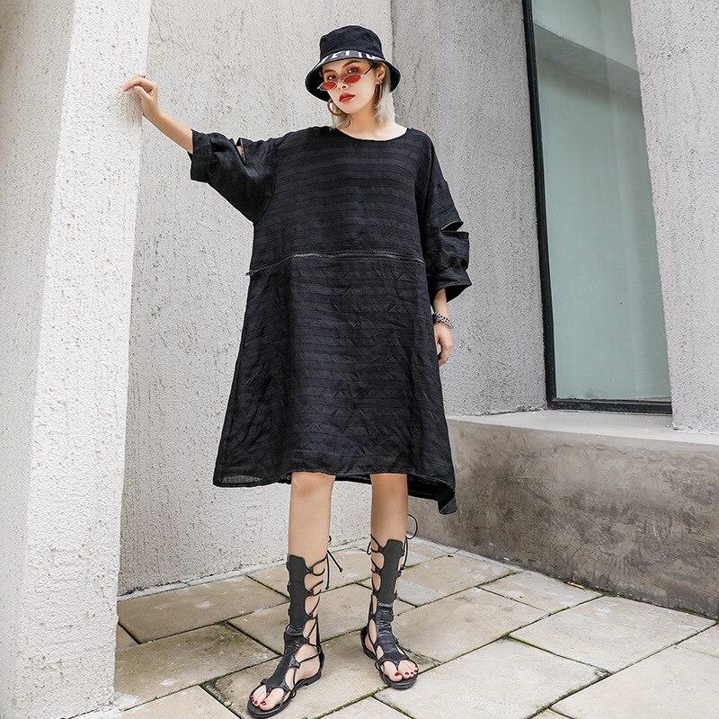 Women Summer Short Sleeve Oversized Loose Casual Zipper Spliced Black Dress Female Streetwear Hip Hop Punk Gothic Striped Dress in Dresses from Women 39 s Clothing