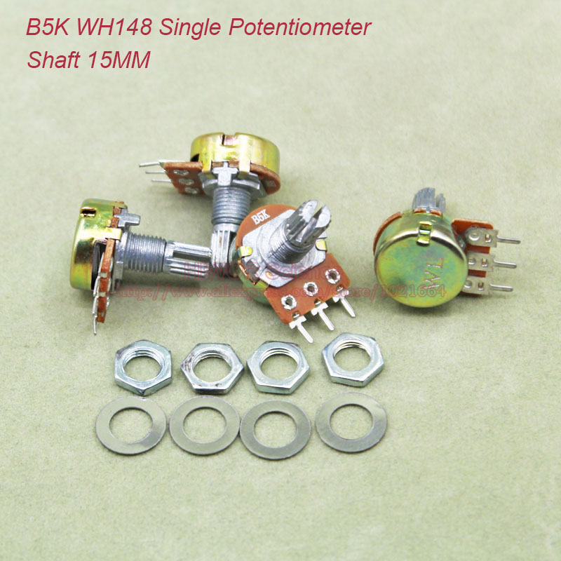 (10pcs/lot) B5K <font><b>5K</b></font> OHM 5KOhm WH148 Linear Single Rotary Potentiometer <font><b>Pots</b></font> Shaft 15MM With Nuts and Shim B5K-15MM image