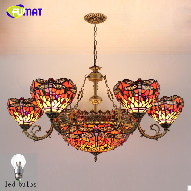 FUMAT Tiffany Pastroal Baroque Chandeliers Artistic Lights For Living Room Dining Vintage Stained Glass Chandelier
