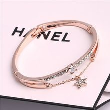 Luxury Famous Brand Jewelry Rose Gold Stainless Steel Bracelets & Bangles Female Heart Forever Love Charm Bracelet For Women(China)